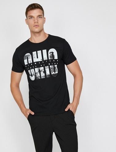Koton Yazılı Baskılı T-Shirt Siyah